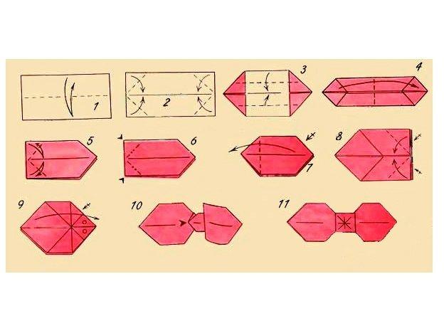 Бант на подарок оригами