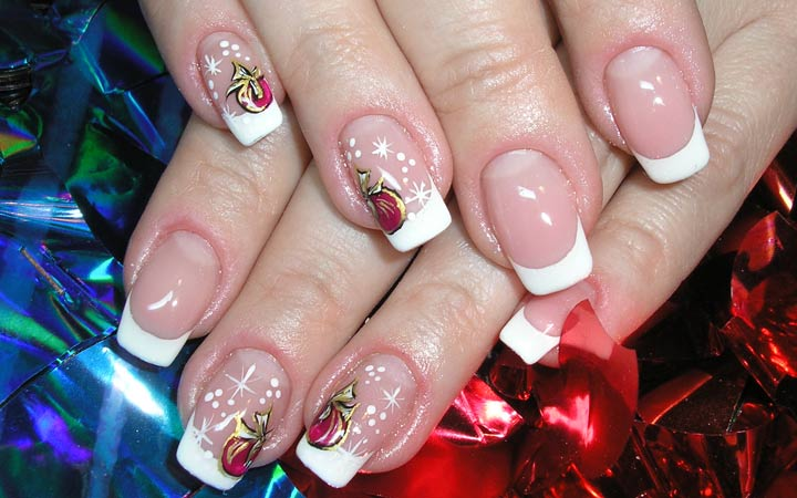 Новогодний дизайн ногтей с френчем фото новинки