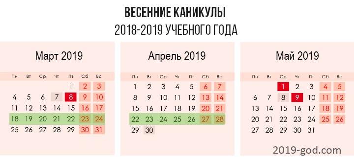 Когда школьные каникулы весна 2018